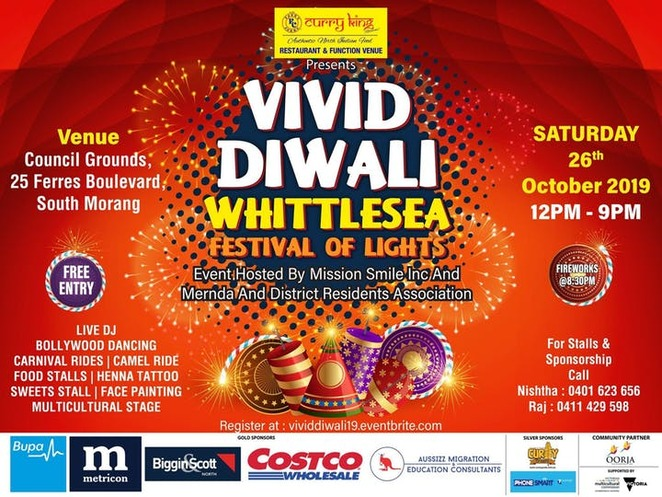 vivid diwali whittlesea 2019, festival of lights 2019, community event, fun thigns to do, mission smile inc, mernda and district residents association, council grounds south morang, community event, cultural event, fun things to do, city of whittlesea, curry king, free cultural event, live dj, fireworks, bollywood dancing, rides, food stalls, entertainment, activities, multicultural stage