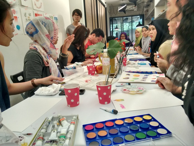 watercolour i'm in love workshop sebelas painting