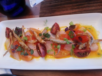 Kingfish ceviche with crispy whitebait served with grapefruit compote