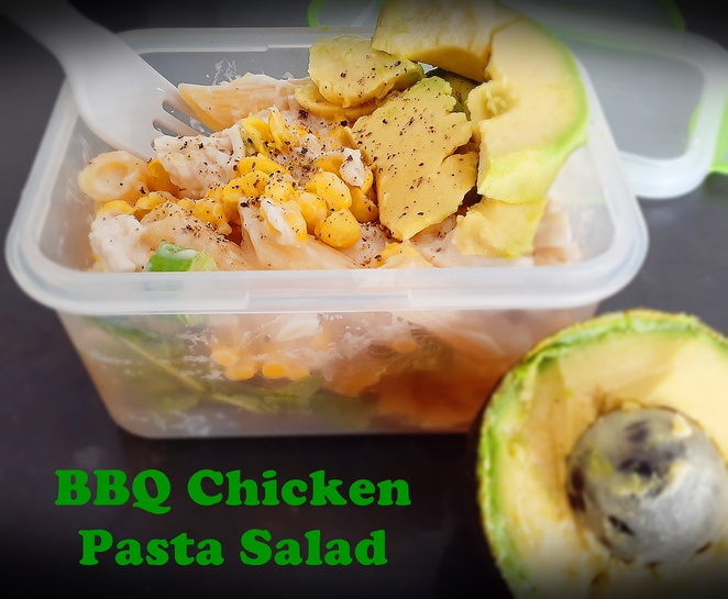 BBQ chicken pasta salad, BBQ chicken, pasta, pasta salad, lunch ideas, work, work lunch, recipes, australia, recipes for lunch, work lunch, takeaway containers, takeaway, work lunch,