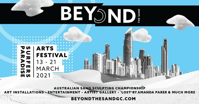 beyond the sand art festival 2021, community event, fun things to do, major events gold coast, surfers paradise beach, australian sand sculpting exhibition, australian sand sculpting championship, art installations, entertainment, artist gallery, lost by amanda parer, free circus themed art festival, live circus performances, artists