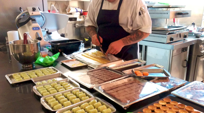 Canapes being prepared for an event at Dan Arnold