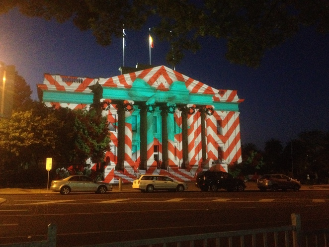 Geelong Town Hall, wrapped in light projections