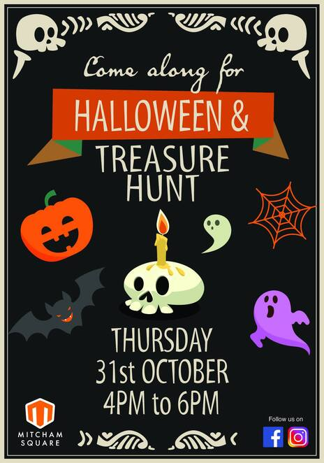 Halloween, treasure hunt, Mitcham square shopping centre, ghosts, witches, warlocks, monster, ghouls, treasures