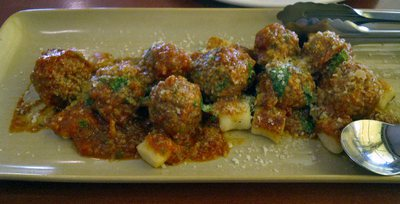 Potato Gnocchi, Veal and Pork Meatballs, Fresh Tomato, Basil and Parmesan