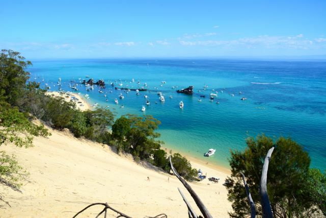 Looking down on the Micat Ferry's landing area on Moreton Island