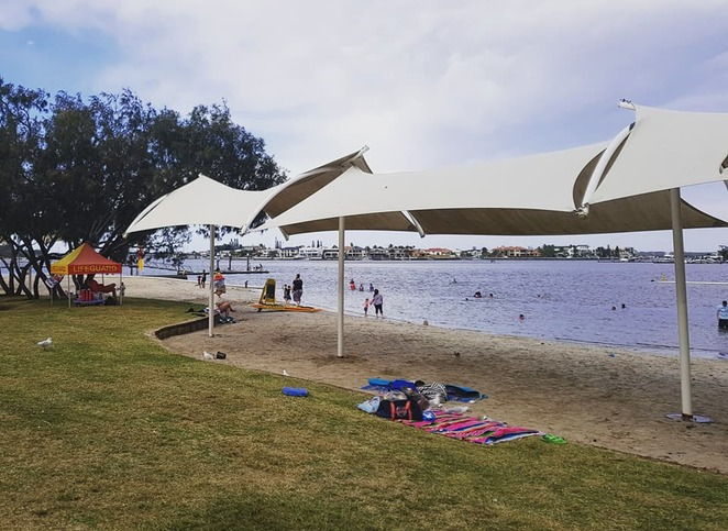 Paradise Point, Gold Coast, swimming enclosure, beach, playgrounds, family outing
