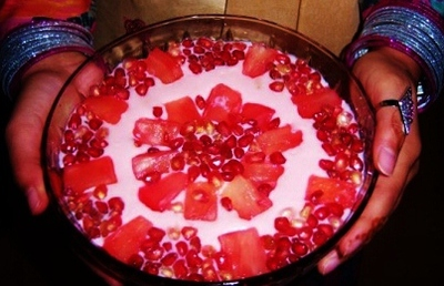 Pomegranate and Pineapple Fruit Trifle