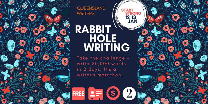 rabbit hole writing challenge 2019, community event, fun things to do, queensland writers centre, state library of queensland, competition, writing challenge, literary, writers event, write an ovel, write a book, project ready writers