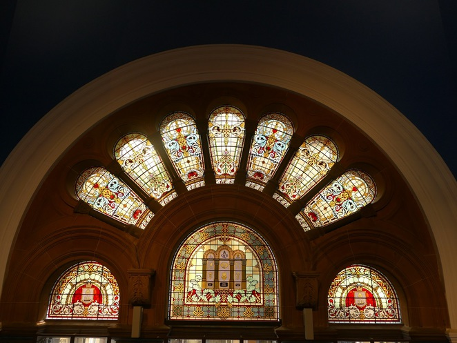 Stained glass windows QVB Sydney