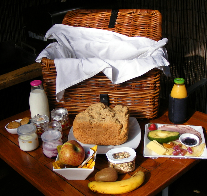 A breakfast hamper is delivered to your door each morning