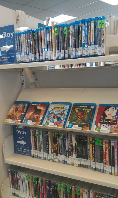 Blue Ray DVDs hire at Library
