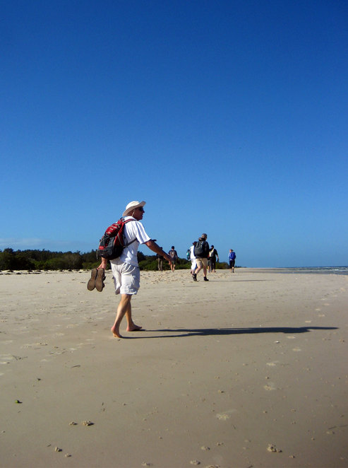 Walking the beach at Bribie Island