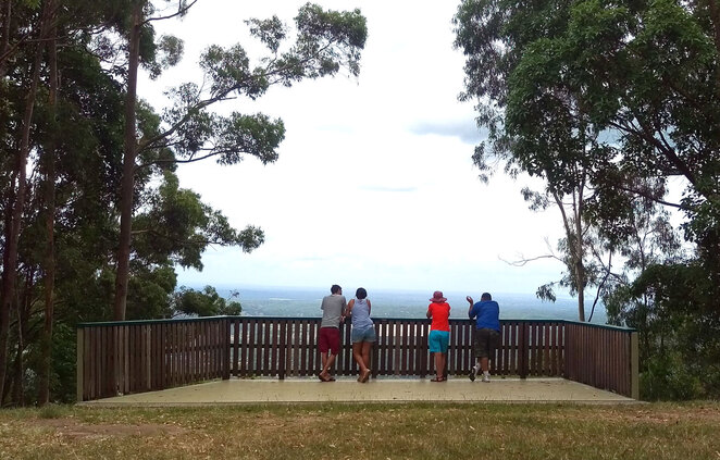 Camp Mountain Lookout is linked to the Samford Valley and Bellbird Grove by forest trails