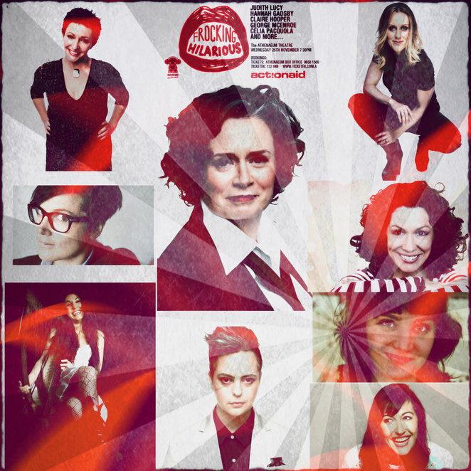 frocking hilarious, athenaeum theatre, actionaid, comedy gala, fundraiser, judity lucy, george mcencroe, hannah gadsby, claire hooper, celia pacquola, kitty flanagan, geraldine hickey, tegan higginbotham, laura davis, linda beatty, comedy show, stage, entertainment