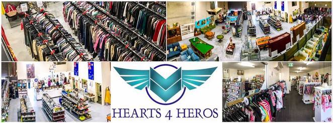hearts4heros, op shop, cafe, food, coffee, charity, donations, charities, gifts, bricabrac, clothing, furniture, military, emergency services, books, book sale, elizabeth