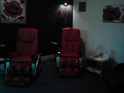 Massage chairs in the chill out room