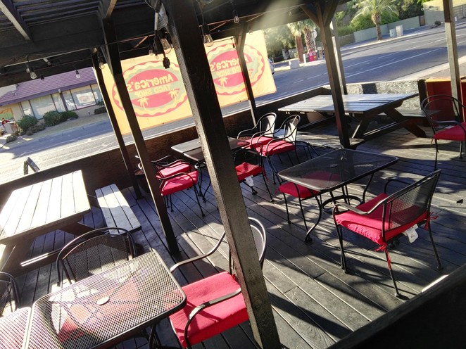 Outdoor seating, tacos, mexican food