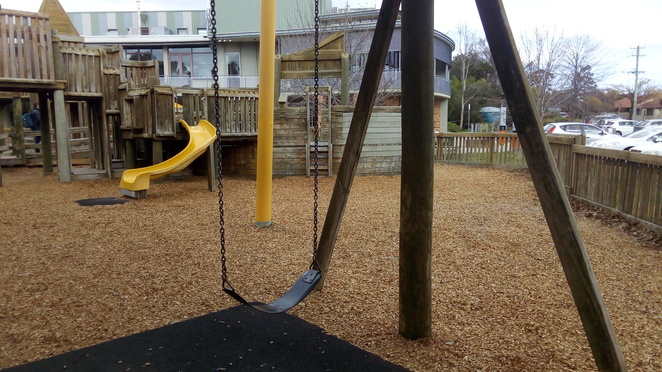 phoenix park, wooden fort, playground, malvern east, slide, swing
