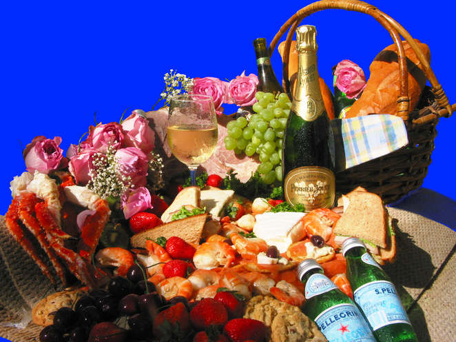 picnic basket food wine water bread roses prawns glass wine