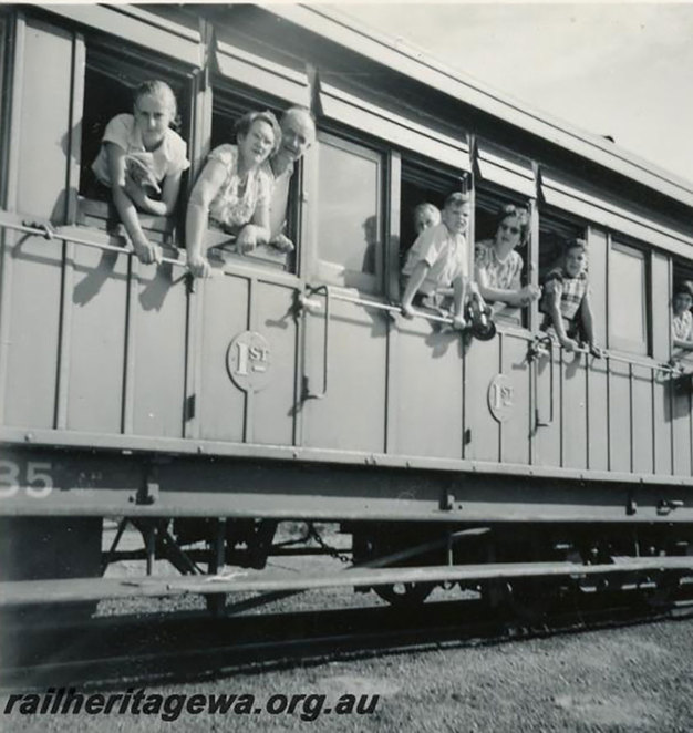 Railway Picnic train to Geraldton with picnickers leaning out of the carriage window. Photograph courtesy of the Rail Heritage WA Archives. The Old-Fashioned Railway Picnic Day at the South West Rail and Heritage Centre