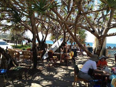 Relax with a drink or a meal under the shade of a pandanus tree