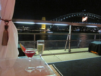 The Illusionist cocktail & Moët from The Cove at the Sydney Opera House