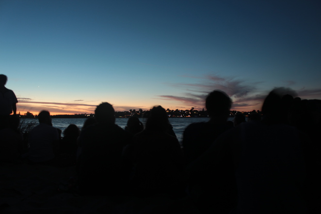 The pre-fireworks crowd enjoying the sunset - get there early to secure a good spot to watch the fireworks from!