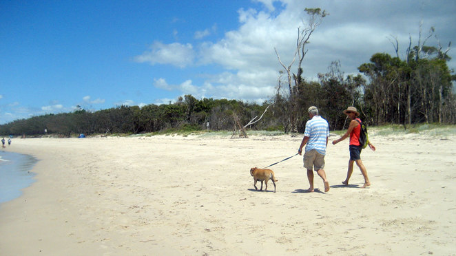 Red Beach on Bribie Island is great for walking, but not so good for swimming