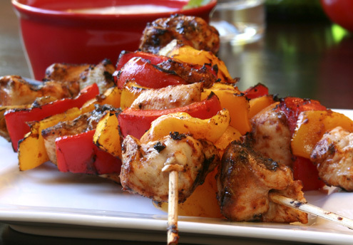 Chargrilled Mango and Red Capsicum Skewers with Sweet Chilli Dip