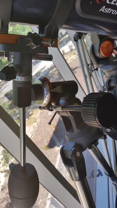 An Equatorial telescope mount.