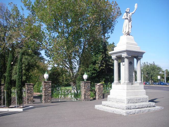 footscray park trees victory statue gates