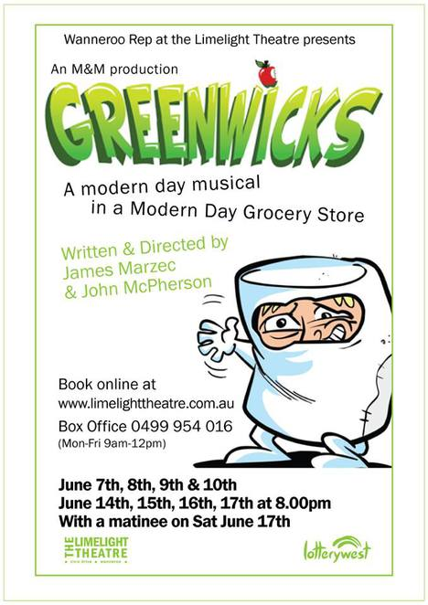 Greenwicks, Limelight Theatre, musical, comedy, laughs, comedy, humour, supermarket, performing arts