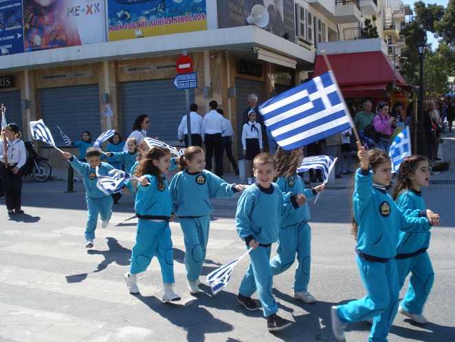 Parade in Crete flying the flag