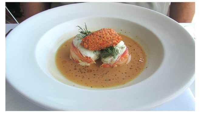 Poached lobster entree