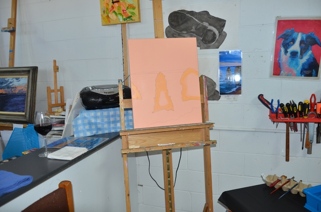 Prepared canvas with masking to help keep your painting neat