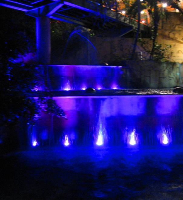 The fountains at night are constantly changing colours