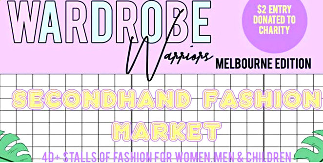 secondhand fashion market melbourne, wardrobe warriors, shopping, secondhand clothes, fun things to do, community event, market stalls, sustainable shopping, city of melbourne bowls club, fundraiser, charity, melbourne city mission