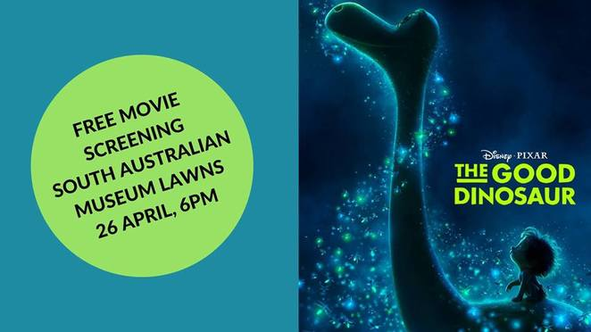 the good dinosaur, dinosaur revolution, south Australian museum, palaeontology, movie, free, professor john long, flinders university, museum cafe, road movie mobile cinema