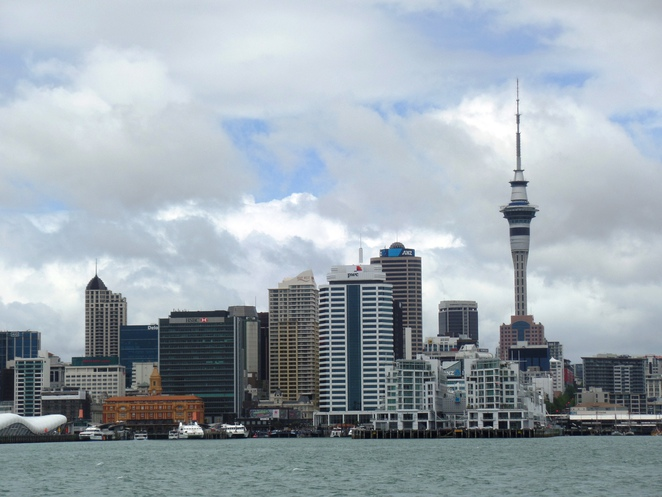 view of Auckland skyline outside the harbour
