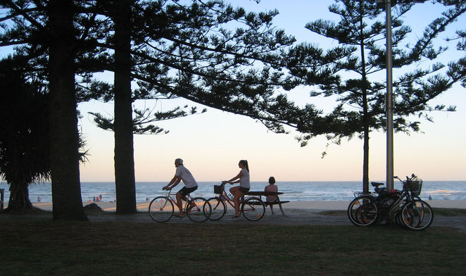 Burleigh Beach is a popular place for walking or cycling