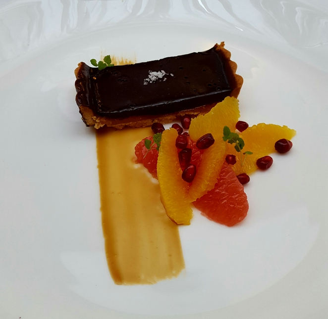 Chocolate, caramel, dessert