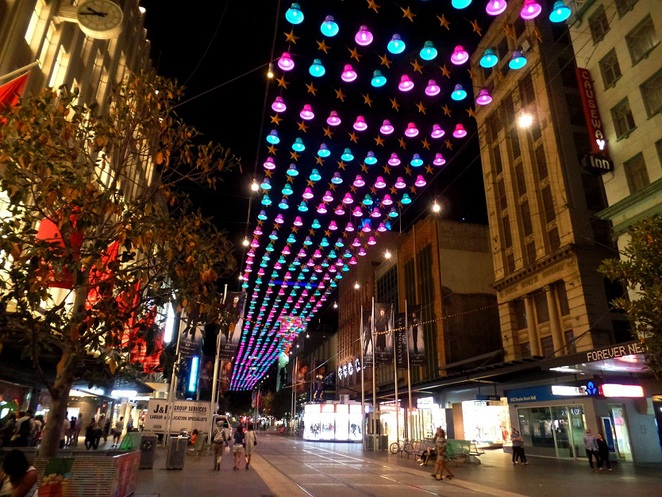 christmas lights in bourke street mall melbourne