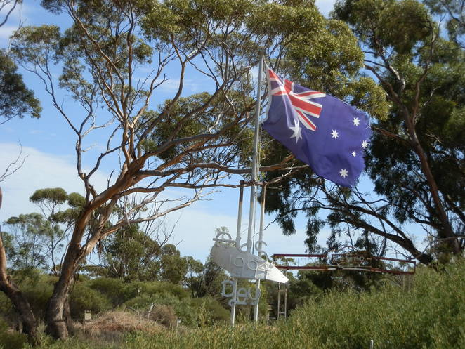 Clements Gap former school site entry, bush setting, Austalian flag, Australiana
