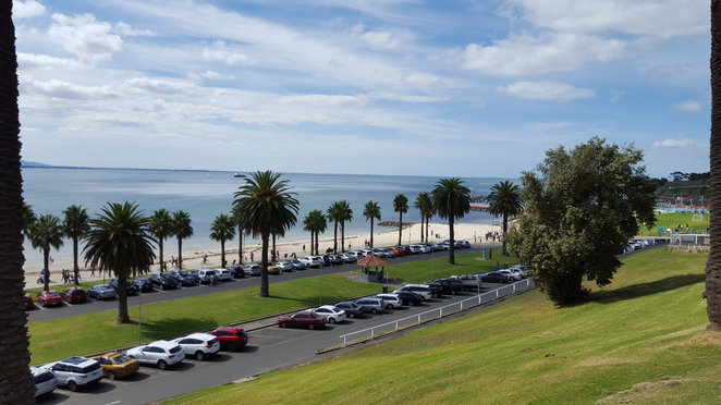 Car Parking Eastern Beach, Corio Bay in the Background