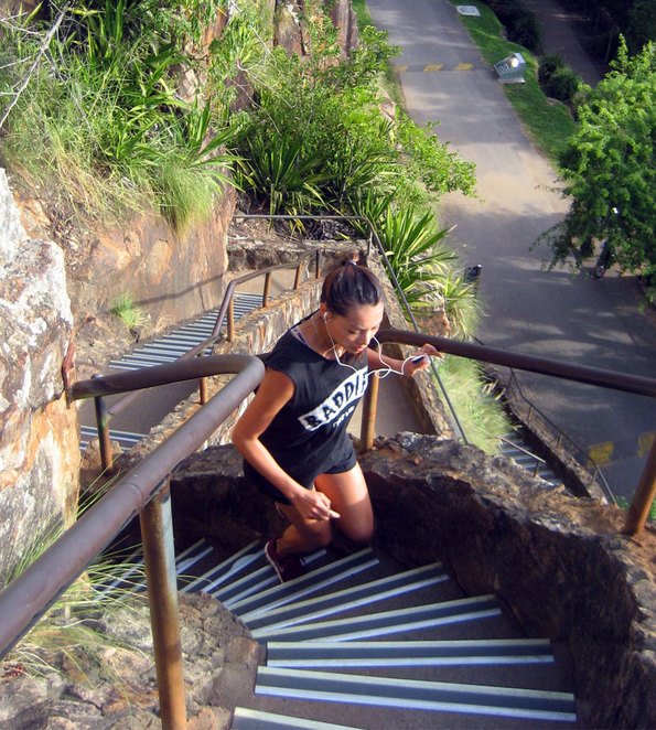 Running up the Kangaroo Point stairs is a popular exercise