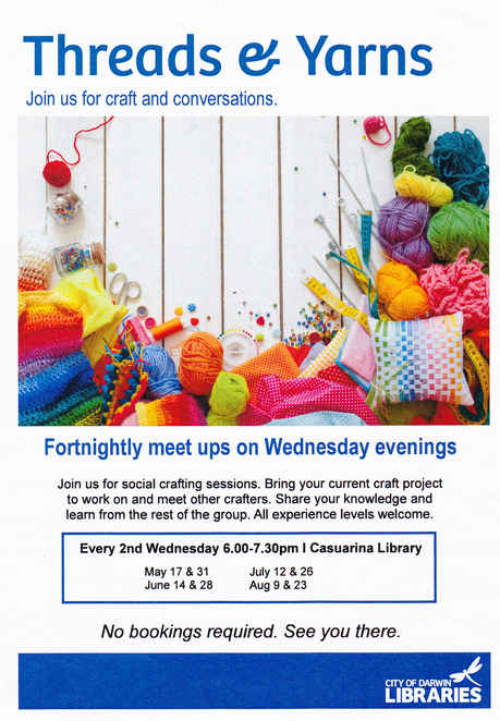 threads, yarns, hobby, Casuarina library, meet up, craft, chat, evening activities