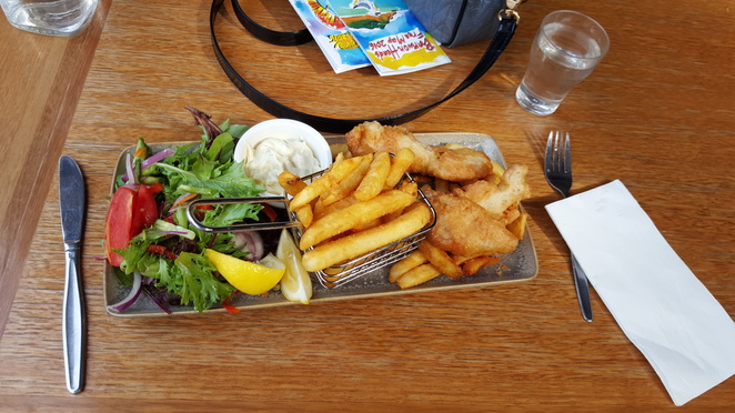 Beer Battered Fish, Chips and Salad