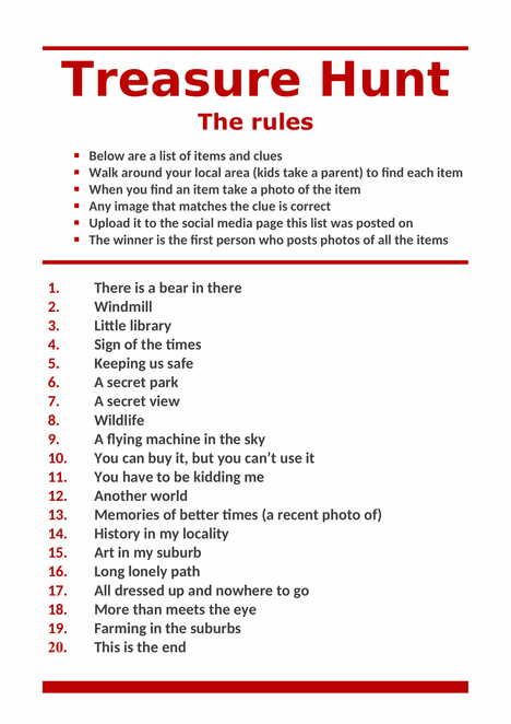 An example of a treasure hunt rules and list