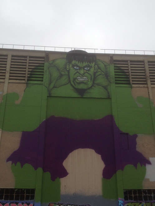 The hulk menaces visitors - see him on the wall of the Powerhouse